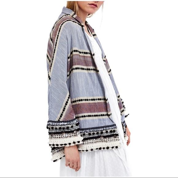 6b523ee781 Zara Tops | Stripe Kimono With Pom Poms | Poshmark